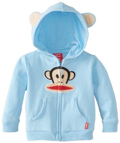 Paul Frank Baby-Boys recién nacido con cremallera frontal sudadera con capucha, Cielo azul