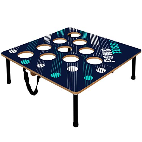 Black Series Portable Beer Pong Set with 2 Folding Tables and 6 Ping Pong Balls, Classic Drinking Game for Adults, Best Party Games, Collapsible for Easy Storage, Dorm Room Essentials, Indoor Outdoor