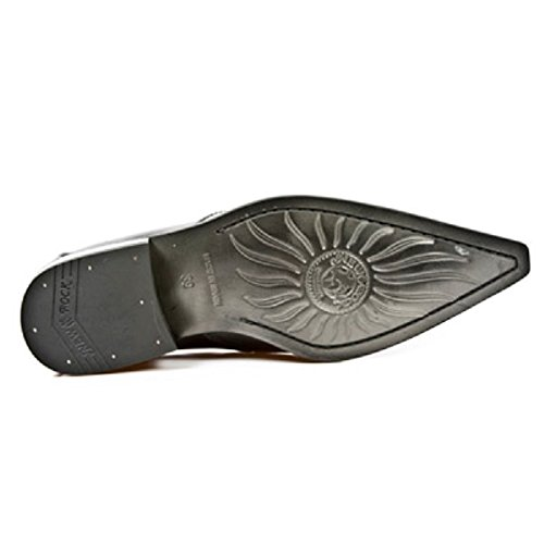 NEWROCK New Rock 2246 - S20 intelligente vernice nera fibbia in acciaio occidentale Scarpe uomo