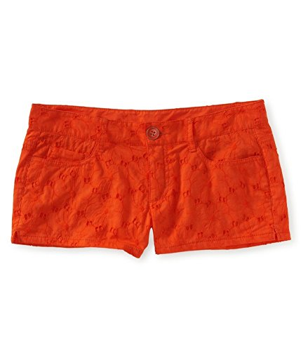 Aeropostale Womens Lace Shorty Casual Chino Shorts Orange 3/4 - Juniors by Aeropostale