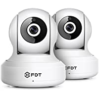 2-Pack FDT 720P HD WiFi Pan/Tilt IP Camera (1.0 Megapixel) Indoor Wireless Security Camera FD7901 (White), Plug & Play, Two-Way Audio & Nightvision