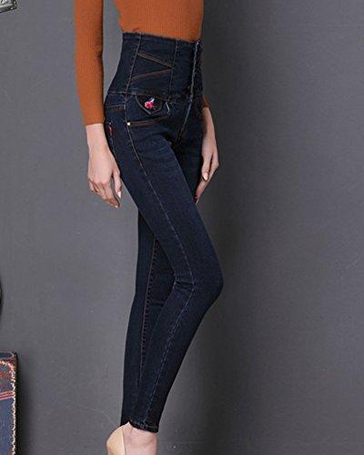 Jeans Gris Taille Pantalon Crayon Haute Denim Femmes Skinny Bleu Slim aqRdgxw8