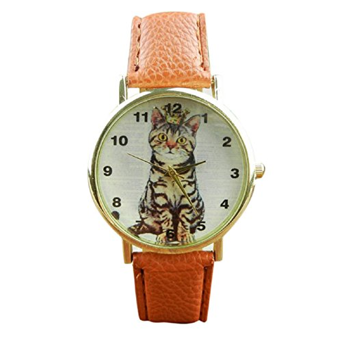 Tonsee Women's Neutral Diamond Lovely Cats Face Leather Quartz Watches - Cats Round With Faces