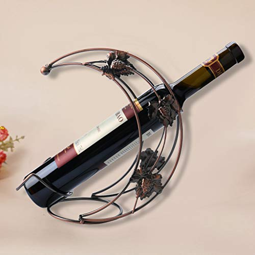 (m·kvfa Metal Wine Rack Stand Bottle Holder Storage Wedding Party Decor Ornament Gift Half Moon Wrought Iron Red Wine Rack Decoration for Dining Table Cabinet Counter Top)