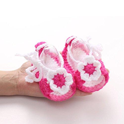 - DZT1968® Baby Girl Handmade Knit Soft Sole Prewalker Shoes Socks With Flower (0-12 Months) (C)