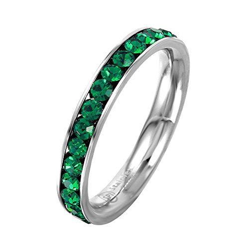 3mm Stackable Stainless Steel Eternity Band Ring w/ Crystal Birthstones (MAY-EMERALD COLORED, 8) Colored Stone Ring