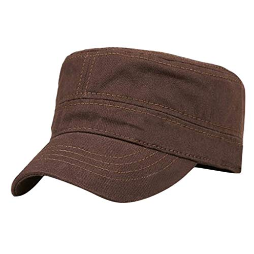 (Pengy Unisex 100% Cotton Cap Washed Adjustable Packable Military Flat Cadet Combat Cap Army Hat Coffee)