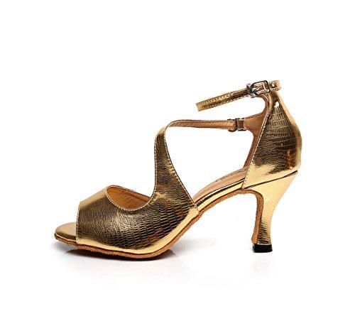Ballroom Donne Scarpe Salsa Dance Med Superiore Della Ragazza 39 Sandali Colori Delle Shoe Satin gold Latino Professionista altri CxwqXpv