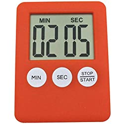 Fan-Ling Large Digital LCD Kitchen Cooking Timer Count-Down Up Clock Alarm Magnetic,Digital Timer Reminder Alarm LCD Cooking Clock Kitchen Large Count-Down Up Loud (red)