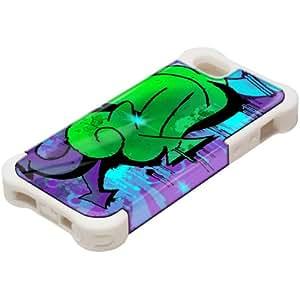 Grafiti 10070, Design Blanco Caso Carcasa Funda de Silicona Hybrid Armor Protección Case Cover con Diseño Colorido y Protector De Pantalla para Apple iPhone 5 5S.