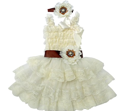 Rosy Kids Vintage Chic Flower Girl Lace Dress Baby Petti Lace Dress, Flower Sash and Hair Flower, Brown, M