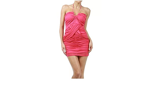 842f14df3280 Amazon.com: Dress Halter Fuchsia Solid Mini Mesh Criss Cross Club Party  Sexy Pink (S, Fuchsia): Clothing