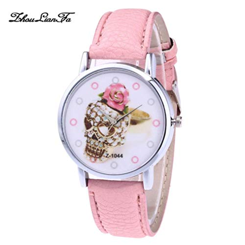 Amaping Women Watches Faux Leather Band Halloween Analog Quartz Watches Girls Ladies Wristwatch (Pink) for $<!--$5.79-->