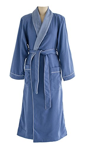 Ultimate Doeskin Microfiber Bathrobe Lined In Terry - Luxury Spa Bathrobe for Women and Men - Periwinkle/Periwinkle - - Best Brands For Men Luxury Clothing