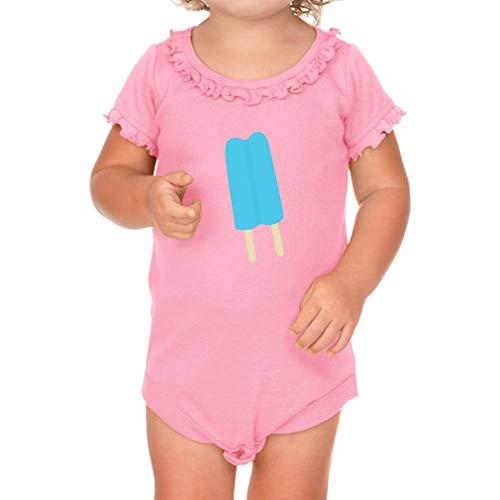Cute Rascals Blue Ice Cream Short Sleeve Scoop Neck Girl Sunflower Cotton Baby Ruffle Bodysuit - Soft Pink, 18 ()