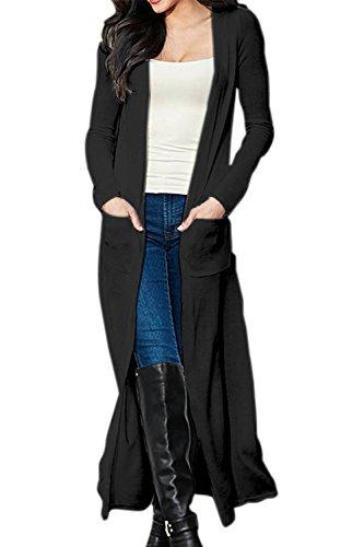 Kimono largo Cardigan suéter Yacun mujeres Black
