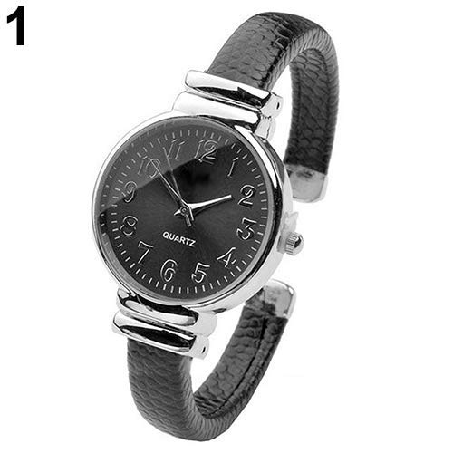 Potelin Women's Fashion Snakeskin Pattern Faux Leather Band Quartz Bangle Wrist Watch Durable and Useful