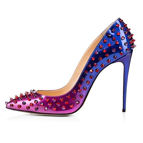 MerMer Elegante Mujer Zapatos de tacón Alto Poca Afilada Stiletto Metal Multi-color Pumps con chinches