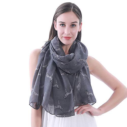 Vizsla Accessories - Lina & Lily Vizsla Dog Print Large Scarf Shawl (Dark Grey)