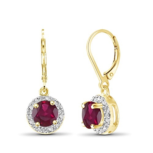 (1.35ctw Genuine Ruby Gemstone and White Diamond Accent 14k Gold Over Silver Halo Earrings)