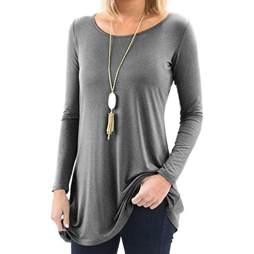 Bella Women's Long Sleeve Boatneck Tunic with Symmetrical Hem - Super Soft Loose Fit T-Shirt Tunic Top, Perfect Casual Blouse for Leggings & Jeans - X-Large - Heather Charcoal