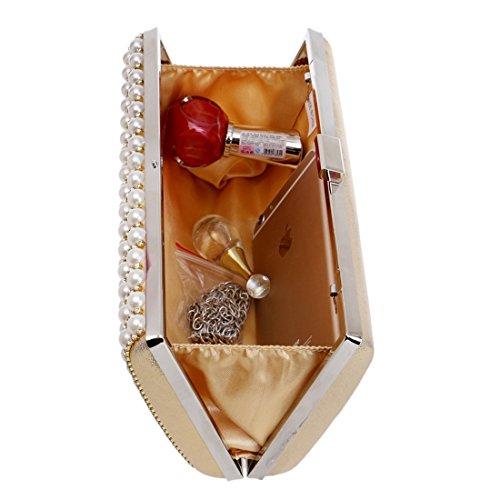 Hungrybubble avec bandoulière Or Femme pour Sac Pochette à de Argent soirée rwFxrCXq