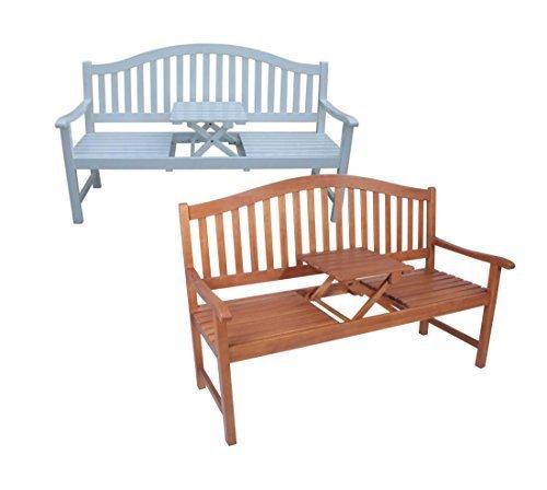 Dekorative Gartenbank mit ausklappbarem Tisch in zwei Farbvarianten (Natur)