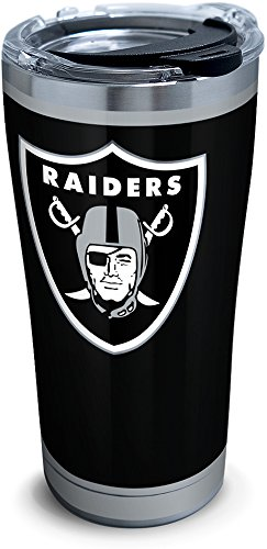 Tervis 1299953 NFL Oakland Raiders Rush Stainless Steel Tumbler, 20 oz, Silver ()
