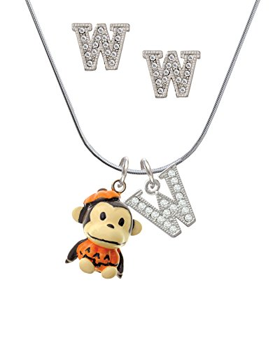 [Resin Monkey in Pumpkin Costume - W Crystal Initial Jewelry Set] (Letter W Halloween Costumes)