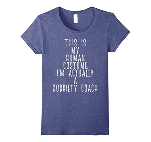 Womens My Human Costume - Best Sobriety Coach Sponsor Gift Shirt Small Heather Blue