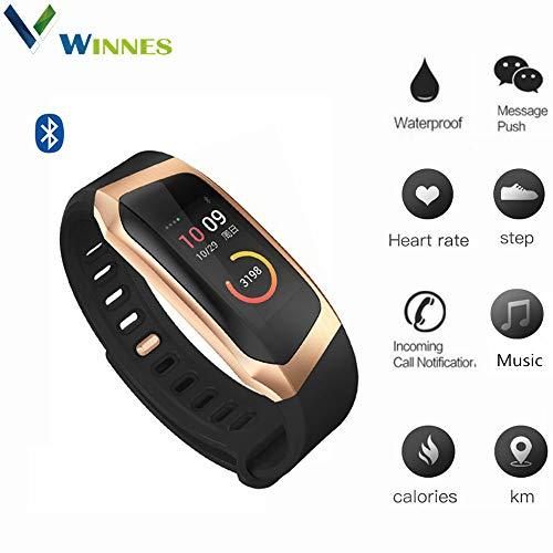 Winnes Waterproof Smart Sports Watch,Blood Pressure&Heart Rate Monitor Pedometer Tracker, Fitness Reminder Smart Bracelet Gift for Men Women – E18 (Gold+Black)