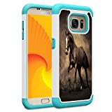Galaxy S7 Case, Skyfree Shockproof Heavy Duty Protection Hard PC & Soft TPU Hybrid Dual Layer Protective Phone Case for Samsung Galaxy S7 (5.1', 2016),Horse Racing