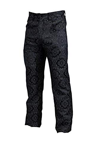 Shrine Men's Victorian Gothic Steampunk Pants Black Edwardian Brocade (32)