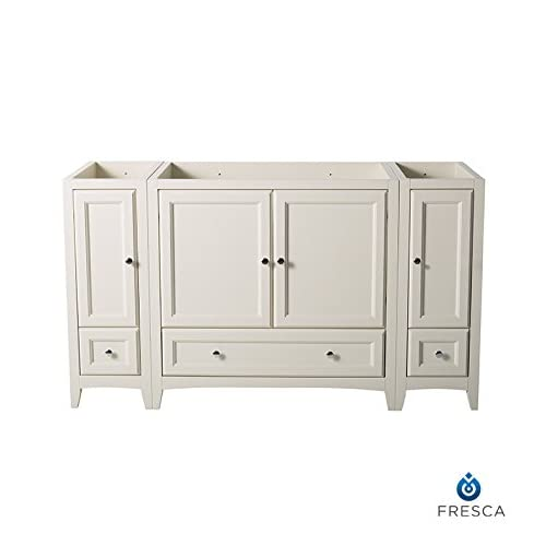"70%OFF Fresca FCB20-123612AW-CMB Oxford 60"" Antique White Traditional Bathroom Cabinets"