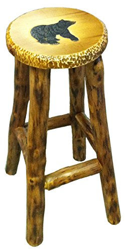 "In the Garden and More Black Bear Hand Carved and Hand Painted Wood Bar Stool (24"")"