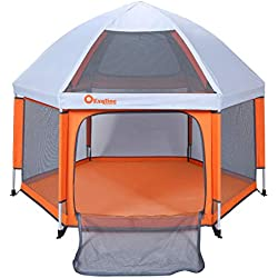 Baby Playpen - Exqline Baby Playard Pop Up Play Tent [2018 Updated New Version], Foldable and Compact Best Kids Playpen with UV Canopy