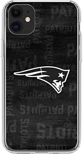 Skinit Clear Phone Case Compatible with iPhone 11 - Officially Licensed NFL New England Patriots Black & White Design