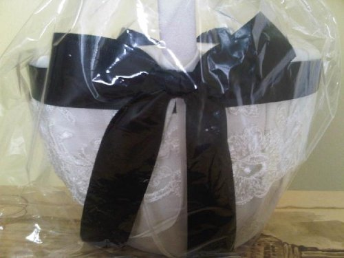Bridal Chantilly Lace Flower Girl Basket IVORY with Black Satin Ribbon Wedding Ceremony Accessories by RaeBella Weddings & Events New York