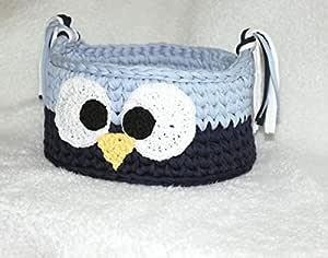 Crochet Baby Nursery Storage Decor Owl Basket - Multi Color