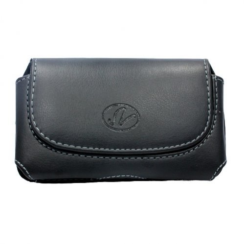 Black Leather Case Holster Cover Side Pouch with Belt Cli...