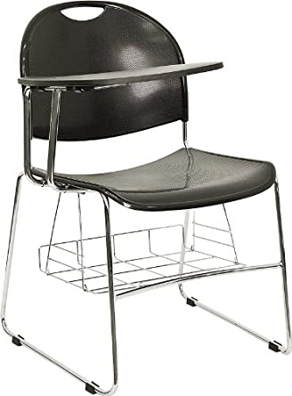 School Desk Black Right Facing Flip Up Tablet Arm Chair Chrome Frame