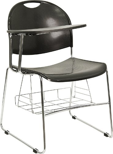 Flash Furniture Black Plastic Chair with Right Handed Flip-Up Tablet Arm and Book Basket