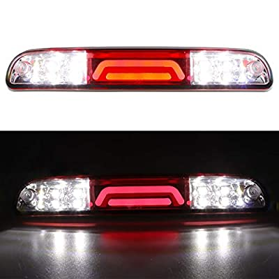 For Ford F250 F350 Super Duty/Ranger/Explorer Sport/Mazda B-Series 3D 3rd Third Brake Light Cargo Light LED Light Bar High Mount Lamp Stop Tail Light 11th 12th Chrome Housing (Red): Automotive