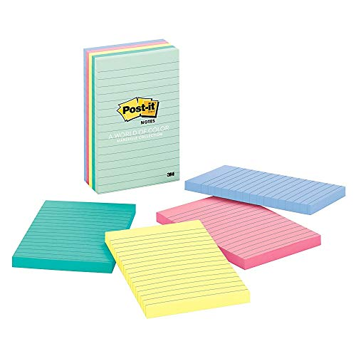 Post-it(R) Notes, 4 in x 6 in, Marseille Collection, Lined, 5 Pads/Pack, 100 Sheets/Pad (660-5PK-AST)