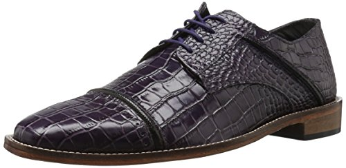 Mens Stacy Adams Mens Raimondo Cap Croc Stampa Oxford Prugna / Nero