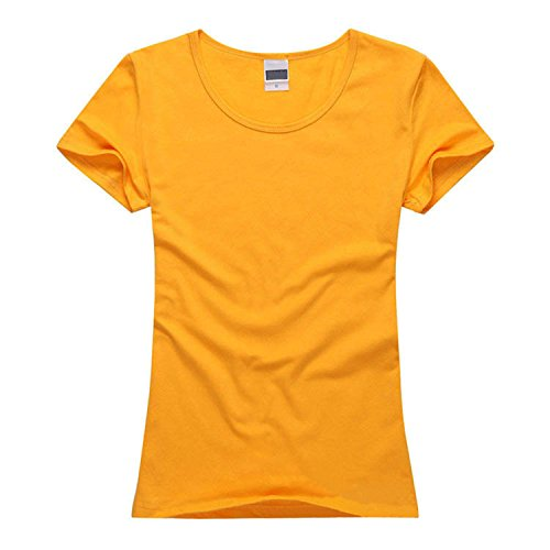 NEW Womens Brand Clothing Summer Women T Shirt Short Sleeve O-neck Casual Cotton Solid Color Tops Tees Female Ladies T-Shirt Golden Yellow L ()
