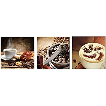 Amoy Art 3 Panels Coffee Wall Art Decor Giclee Canvas Prints Artwork  Pictures Paintings On Canvas Stretched And Framed For Kitchen Wall  Decorations ...