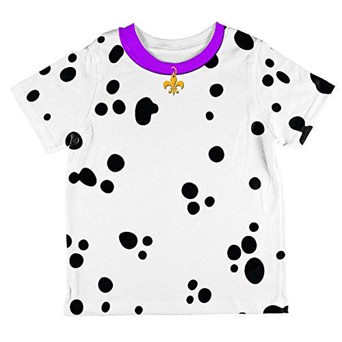 Dalmation Costumes 4t (Mardi Gras Dog Dalmatian Costume Purple Collar Fleur De Lis All Over Toddler T Shirt Multi 4T)