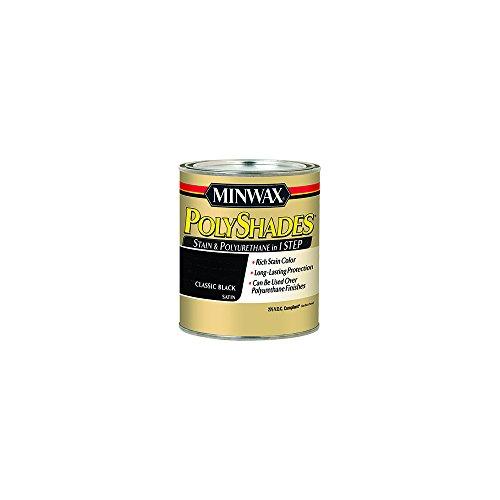 Minwax 219954444 Polyshades - Stain & Polyurethane in 1 Step, 275 VOC, 1/2 pint, Classic Black, Satin