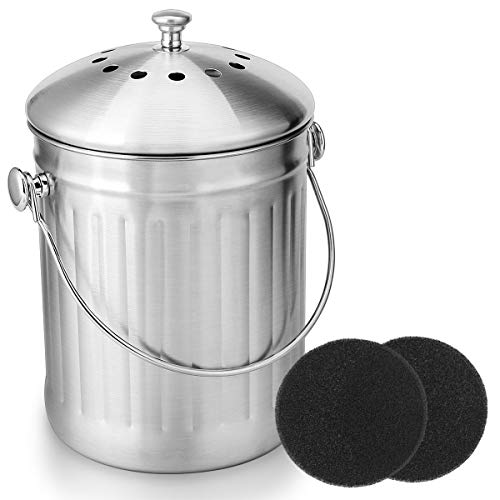 ENLOY Compost Bin, Stainless Steel Indoor Compost Bucket for Kitchen Countertop Odorless Compost Pail for Kitchen Food Waste with Carrying Handle and 2 Charcoal Filter 1.3 Gallon Easy to Clean (Compost Gardens Small Small Bins)